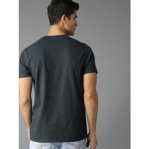 Roadster Men Navy Blue & White Printed Round Neck T-shirt