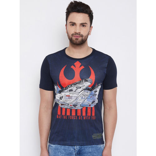 STAR WARS Men Navy Blue Printed Round Neck T-shirt