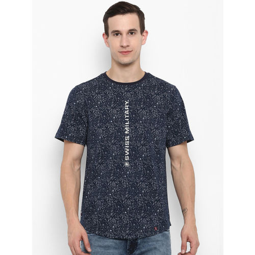 SWISS MILITARY Men Navy Blue Printed Round Neck Slim Fit T-shirt