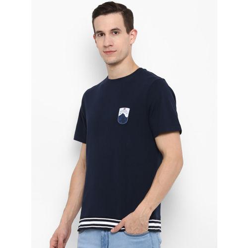 SWISS MILITARY Men Navy Blue Printed Round Neck Slim Fit T-shirt