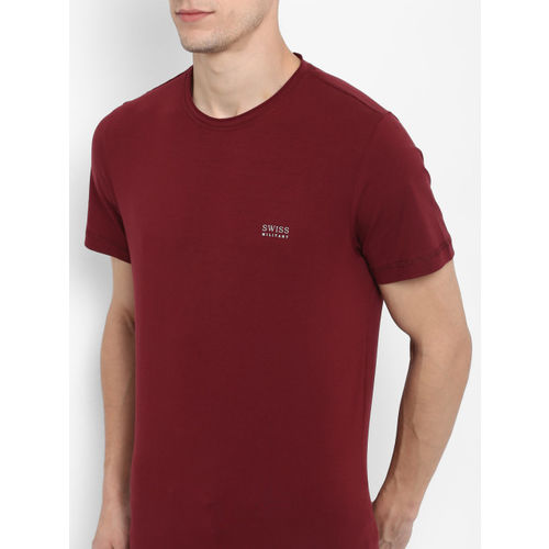 SWISS MILITARY Men Maroon Solid Round Neck T-shirt