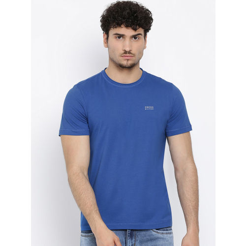 SWISS MILITARY Men Blue Solid Round Neck T-shirt