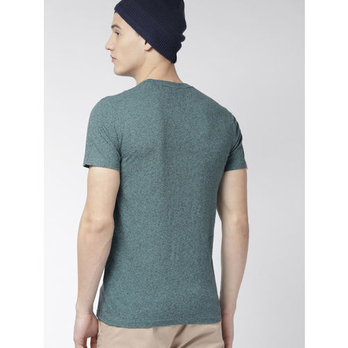 Superdry Men Teal Green Self Design Round Neck T-shirt
