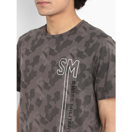 SWISS MILITARY Men Grey Camouflage Printed Round Neck Slim Fit T-shirt