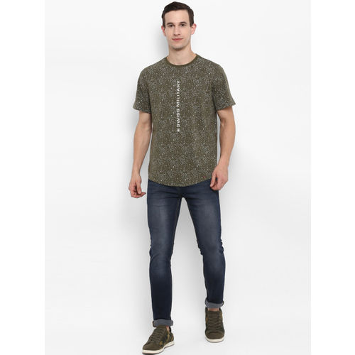 SWISS MILITARY Men Olive Green Printed Round Neck Slim Fit T-shirt