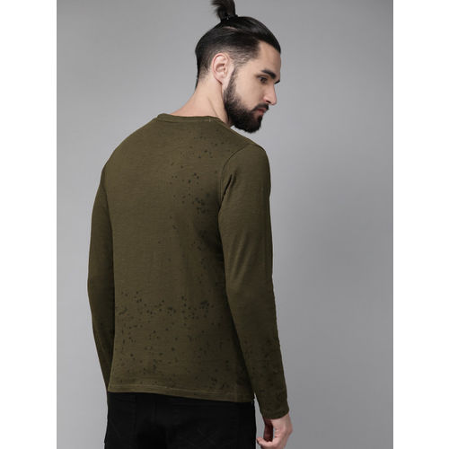 Roadster Men Olive Green Printed Round Neck T-shirt