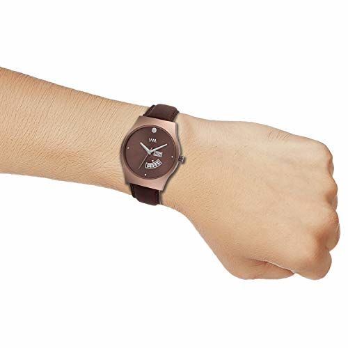 Watch Me Brown Dial Brown Leather Strap Round Square Analog Watch for Boys and Men DDWM-107
