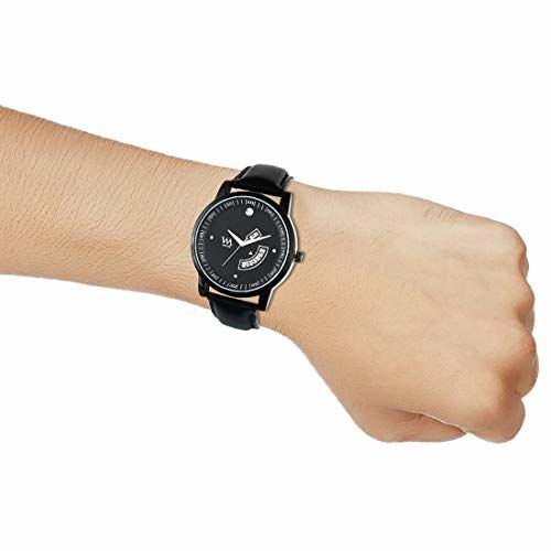 WATCH ME WM Black Dial Black Leather Strap Day and Date Collection Watch for Men DDWM-055