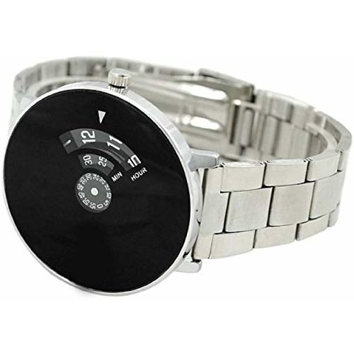 Generic MAHIT Analogue Black Dial with Silver Belt Mens Watch