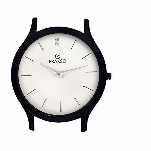 Generic Frakso White Dial Analog Watch Water Resistant Mat Black Chain Slim Watch for Men/Boy (FS-G119-WTBK)