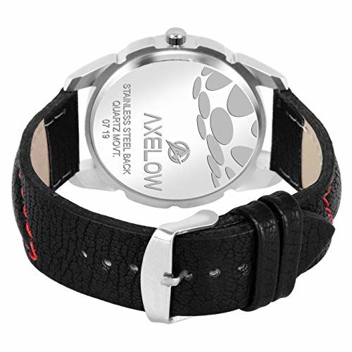 Generic Axelow White Dial & Day Date Functioning Black Strap Water Resistance Analog Watch for Men/Boy (AX-G116-WTBK)
