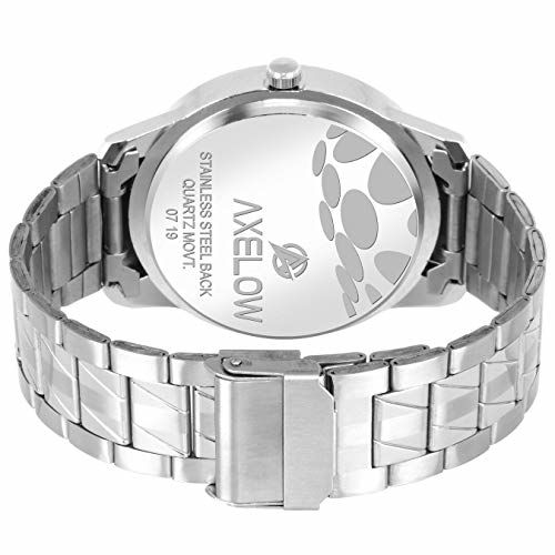 Generic Axelow White Dial Day & Date Functioning Silver Stainless Steel Water Resistance Analog Watch for Men/Boy Analog Watch - for Men (AX-G104-WTCH)
