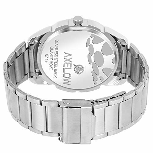 Generic Axelow White Dial Day & Date Functioning Silver Stainless Steel Water Resistance Analog Watch for Men/Boy (AX-G117-WTCH)