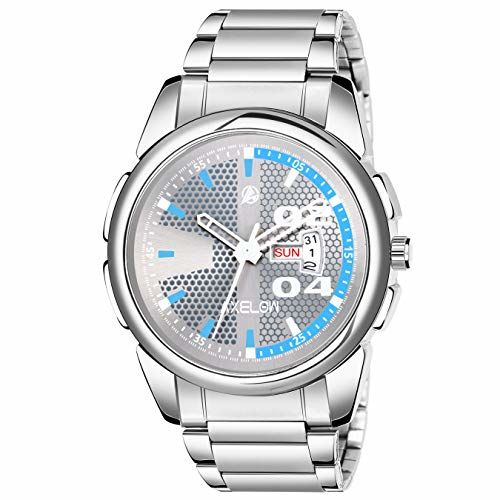 Generic Axelow Grey Dial Day & Date Functioning Silver Stainless Steel Water Resistance Analog Watch for Men/Boy (AX-G117-GRYCH)