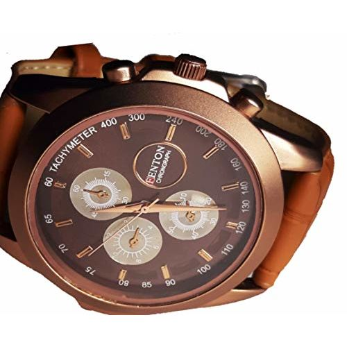Generic R2408 Enterprises Analogue Brown Dial Men's & Boy's Watch with Brown Strap Round and Cool Look Watch || Fenton Chronograph