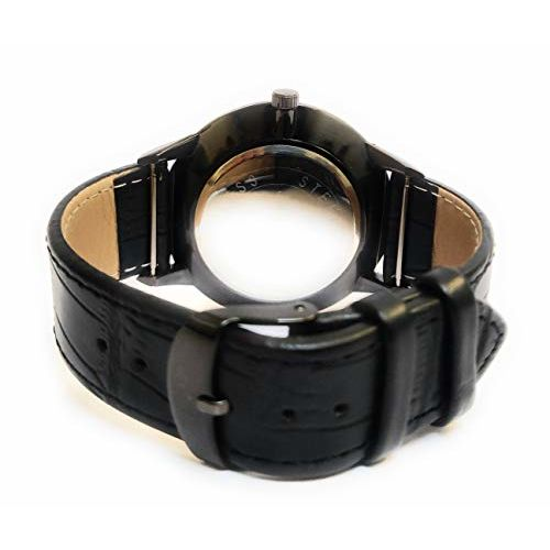Generic Analogue Casual Cum Formal Leather Belt Stainless Steel Black Dial Gents Wrist Watch for Men and Boys_t322