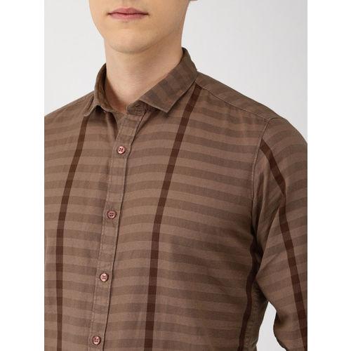 Mast & Harbour Men Brown Regular Fit Striped Casual Shirt