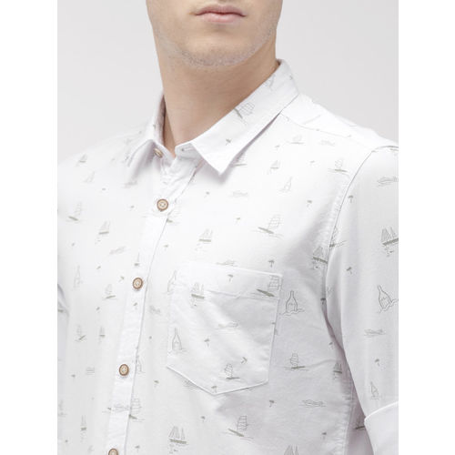 Flying Machine Men White Slim Fit Printed Casual Shirt