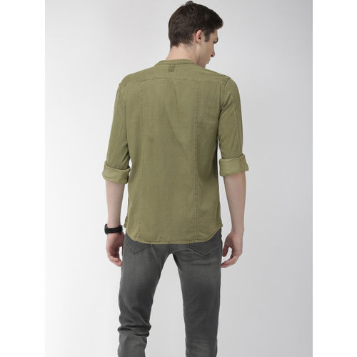 Flying Machine Men Olive Green Slim Fit Solid Casual Shirt