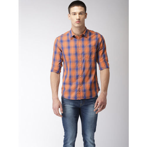 Flying Machine Men Orange & Blue Regular Fit Checked Casual Shirt