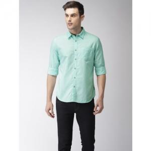 Flying Machine Men Sea Green Regular Fit Solid Casual Shirt