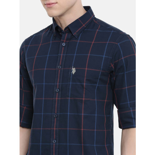 U.S. Polo Assn. Men Navy Blue & Red Tailored Fit Checked Casual Shirt