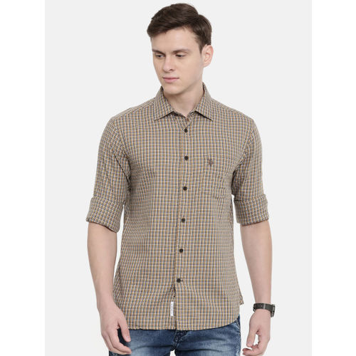 U.S. Polo Assn. Men Khaki Brown & Blue Tailored Fit Checked Casual Shirt