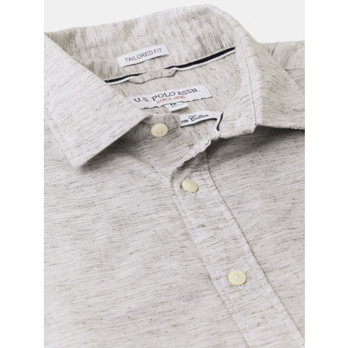 U.S. Polo Assn. Men Grey Tailored Fit Solid Casual Shirt