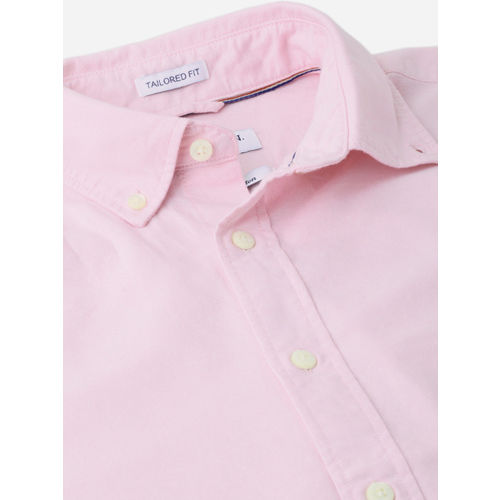 U.S. Polo Assn. Men Pink Tailored Fit Solid Casual Shirt