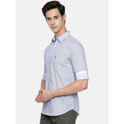 U.S. Polo Assn. Men Blue & White Tailored Fit Printed Casual Shirt