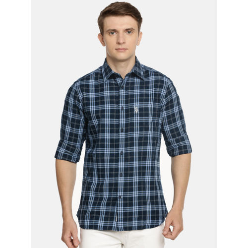 U.S. Polo Assn. Men Navy Blue & White Tailored Fit Checked Casual Shirt