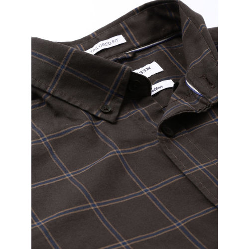 U.S. Polo Assn. Men Charcoal Grey & Navy Blue Tailored Fit Checked Casual Shirt