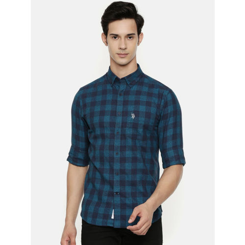 U.S. Polo Assn. Men Blue Tailored Fit Checked Casual Shirt