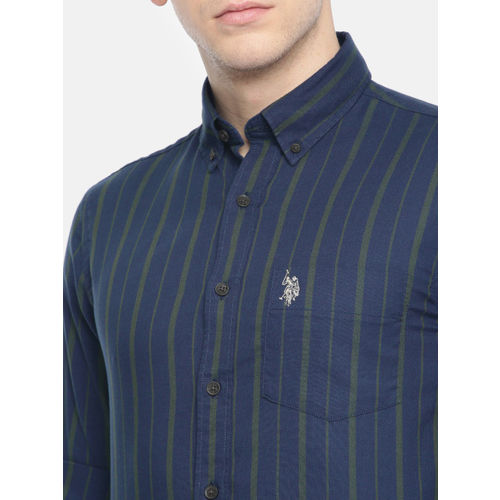 U.S. Polo Assn. Men Navy Blue & Olive Green Tailored Fit Striped Casual Shirt