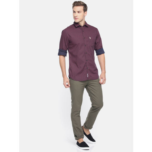 U.S. Polo Assn. Men Maroon & Navy Blue Slim Fit Printed Casual Shirt