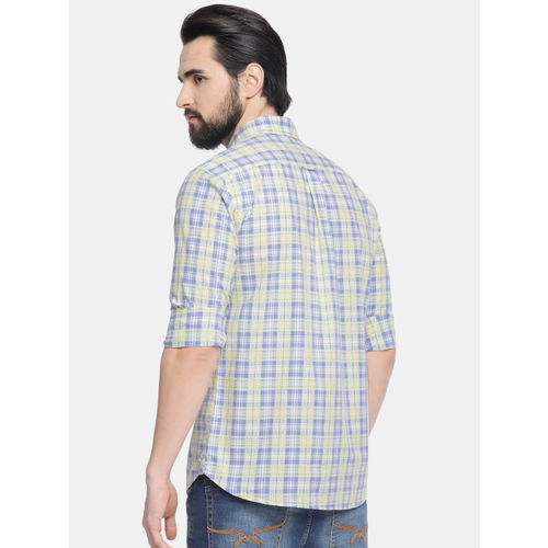 U.S. Polo Assn. Men Yellow & Blue Tailored Fit Checked Casual Shirt