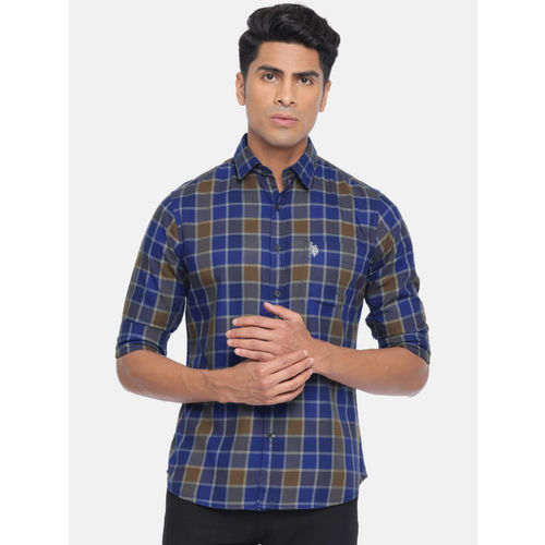 U.S. Polo Assn. Men Navy Blue & Brown Tailored Fit Checked Casual Shirt