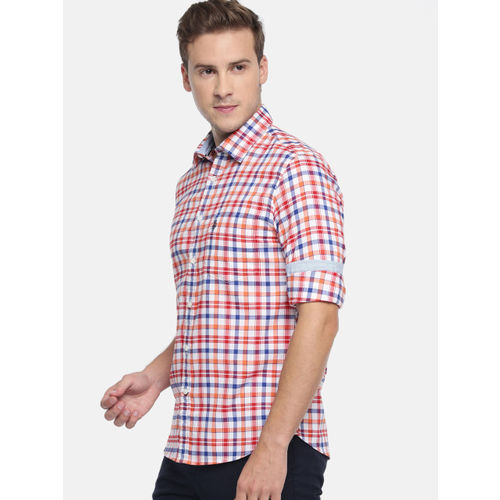 U.S. Polo Assn. Men Orange & White Tailored Fit Checked Casual Shirt