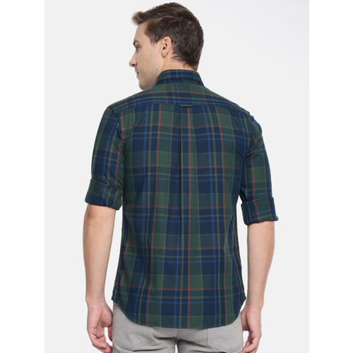 U.S. Polo Assn. Men Green & Blue Tailored Fit Checked Casual Shirt