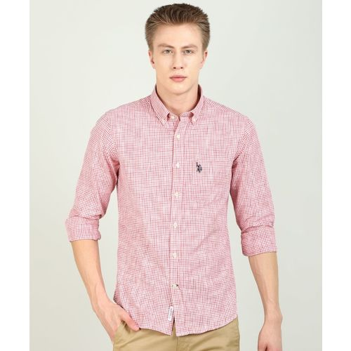 U.S. Polo Assn Men Checkered Casual White, Pink Shirt