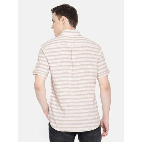 U.S. Polo Assn. Men Beige & Blue Tailored Fit Striped Casual Shirt