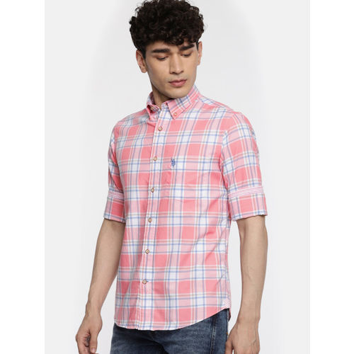U.S. Polo Assn. Men Pink & Blue Regular Fit Checked Casual Shirt