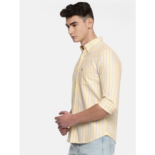 U.S. Polo Assn. Men Yellow & Blue Tailored Fit Striped Casual Shirt