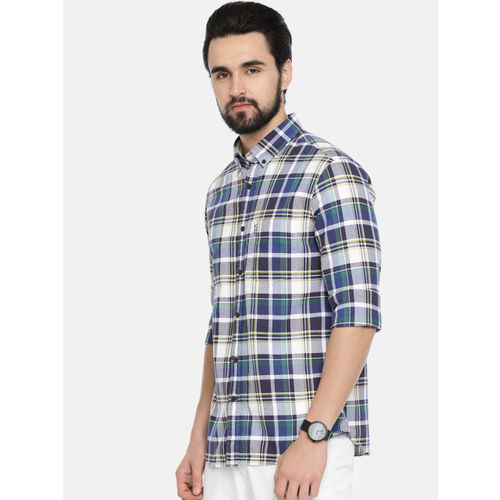 U.S. Polo Assn. Men Navy & White Regular Fit Checked Casual Shirt
