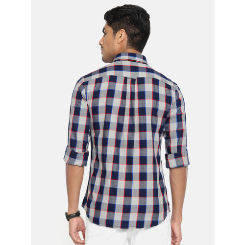 U.S. Polo Assn. Men Navy Blue & Grey Tailored Fit Checked Casual Shirt