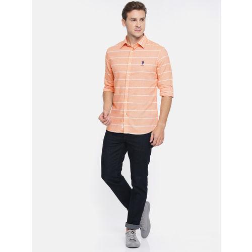 U.S. Polo Assn. Men Orange & White Tailored Fit Striped Casual Shirt