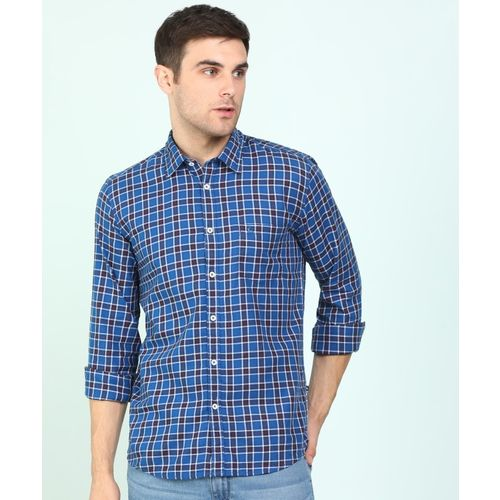 Parx Men Checkered Casual Blue Shirt
