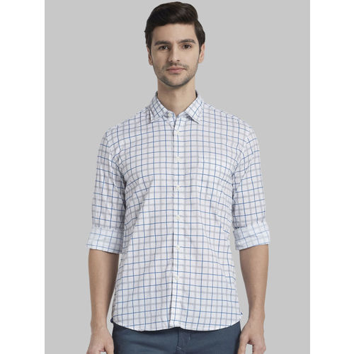 Parx Men White & Blue Regular Fit Checked Casual Shirt