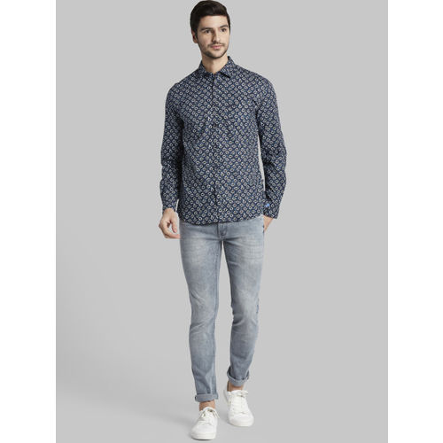 Parx Men Blue & White Slim Fit Printed Casual Shirt