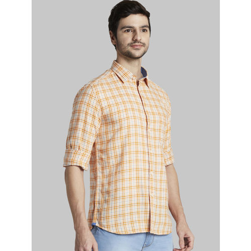 Parx Men Orange Slim Fit Checked Casual Shirt